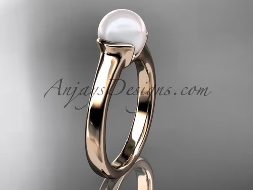 Unusual Engagement Rings Rose Gold Pearl Ring VP10016