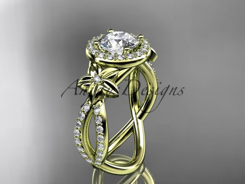 "14k yellow gold leaf and flower diamond unique engagement ring, wedding ring with a ""Forever One"" Moissanite center stone ADLR374"