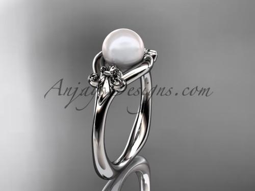 14kt white gold Fleur de Lis pearl engagement ring VP10022