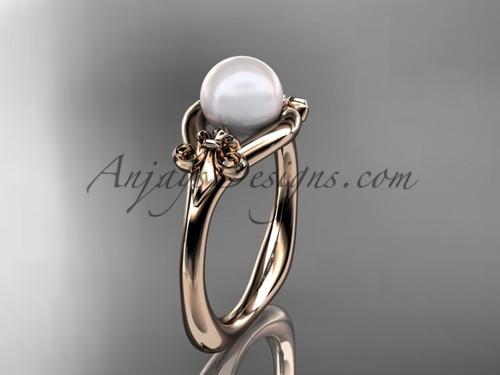 14kt rose gold Fleur de Lis pearl engagement ring VP10022