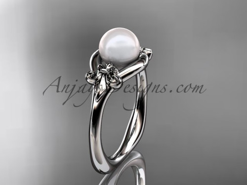 Platinum Fleur de Lis pearl engagement ring VP10022