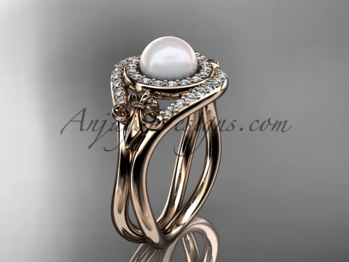14kt rose gold diamond Fleur de Lis pearl engagement ring VP10025