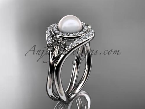 Platinum diamond Fleur de Lis pearl engagement ring VP10025