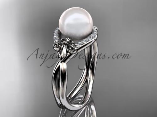14kt white gold diamond Fleur de Lis pearl engagement ring VP10026