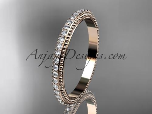 14kt rose gold diamond wedding ring, engagement ring, wedding band ADER86B
