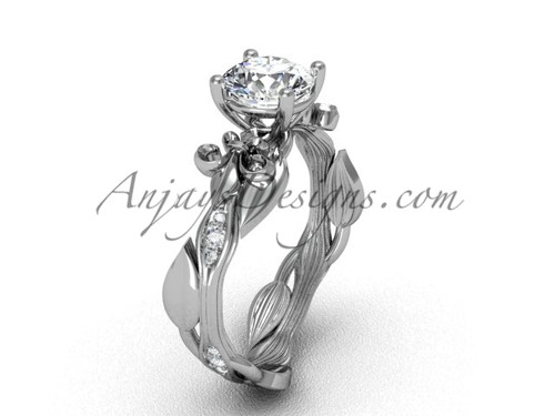 14kt white gold diamond leaf and vine, Fleur de Lis engagement ring VD20831