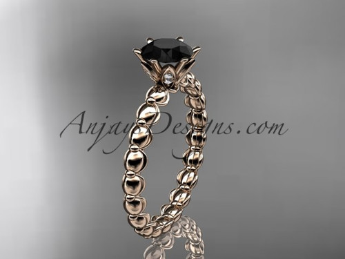 14k rose gold diamond vine and leaf wedding ring, engagement ring with  Black Diamond center stone ADLR34
