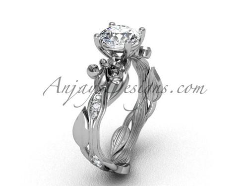 14kt white gold diamond leaf and vine, Fleur de Lis, One Moissanite engagement ring VD20831