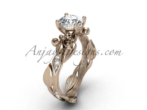 14kt rose  gold diamond leaf and vine, Fleur de Lis, One Moissanite engagement ring VD20831