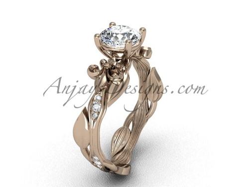 14kt rose  gold diamond leaf and vine, Fleur de Lis, One Moissanite engagement ring VD20831