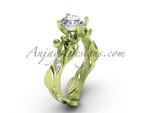 14kt yellow gold diamond leaf and vine, Fleur de Lis, One Moissanite engagement ring VD20831