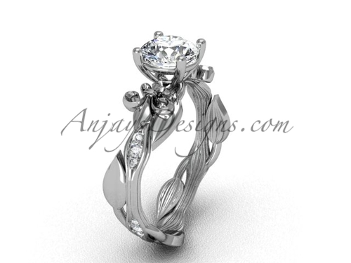 Platinum diamond leaf and vine, Fleur de Lis, One Moissanite engagement ring VD20831