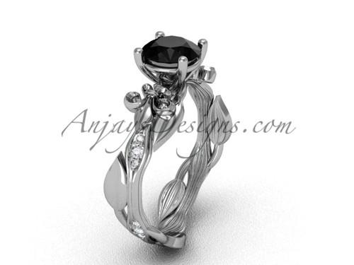 14kt white gold diamond leaf and vine, Fleur de Lis, enhanced Black Diamond engagement ring VD20831