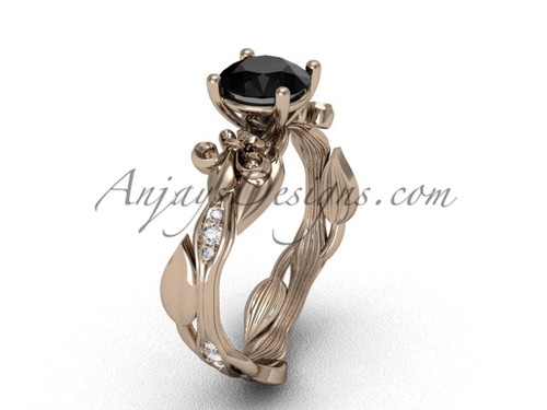 14kt rose gold diamond leaf and vine, Fleur de Lis, enhanced Black Diamond engagement ring VD20831