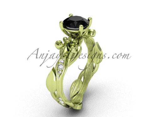 14kt yellow gold diamond leaf and vine, Fleur de Lis, enhanced Black Diamond engagement ring VD20831