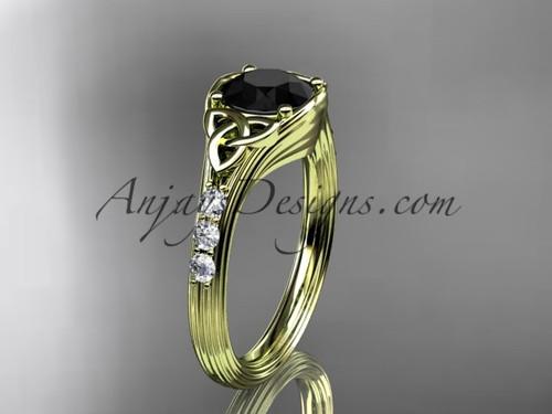 Trinity Knot Black Diamond Yellow Gold Wedding Rings CT7333