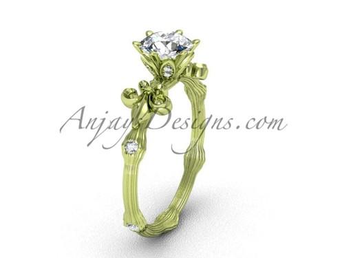 14kt yellow gold diamond leaf and vine, Fleur de Lis engagement ring VD20838