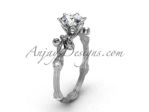 Platinum diamond leaf and vine, Fleur de Lis engagement ring VD20838
