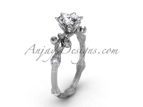 "14kt white gold diamond leaf and vine, Fleur de Lis, ""Forever One"" Moissanite engagement ring VD20838"