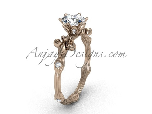 "14kt rose gold diamond leaf and vine, Fleur de Lis, ""Forever One"" Moissanite engagement ring VD20838"