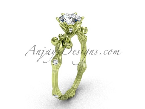 "14kt yellow gold diamond leaf and vine, Fleur de Lis, ""Forever One"" Moissanite engagement ring VD20838"