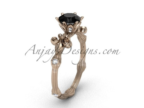 14k rose gold diamond leaf and vine, enhanced Black Diamond engagement ring VD20838