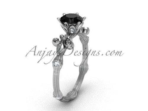 Platinum diamond leaf and vine, enhanced Black Diamond engagement ring VD20838