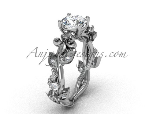 14k white gold diamond leaf and vine, Fleur de Lis engagement ring VD20859
