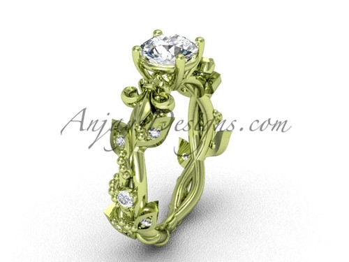 14k yellow gold diamond leaf and vine, Fleur de Lis engagement ring VD20859