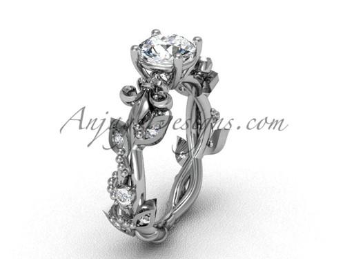 """14kt white gold diamond leaf and vine, Fleur de Lis, """"Forever One"""" Moissanite engagement ring VD20859"""