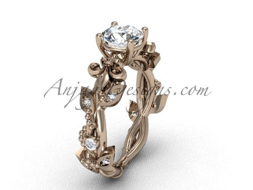 "14kt rose gold diamond leaf and vine, Fleur de Lis, ""Forever One"" Moissanite engagement ring VD20859"