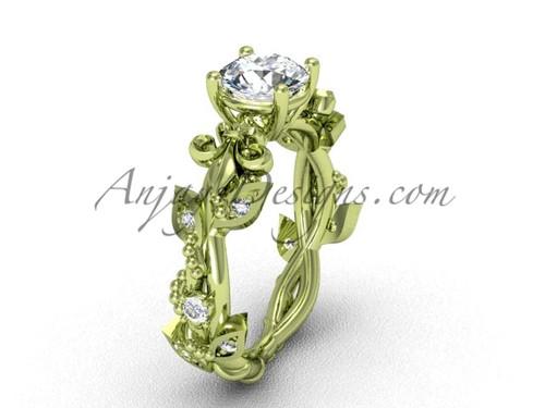 """14kt yellow gold diamond leaf and vine, Fleur de Lis, """"Forever One"""" Moissanite engagement ring VD20859"""