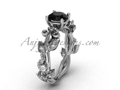 14kt white gold diamond leaf and vine, Fleur de Lis, enhanced Black Diamond engagement ring VD20859
