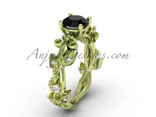 14kt yellow gold diamond leaf and vine, Fleur de Lis, enhanced Black Diamond engagement ring VD20859