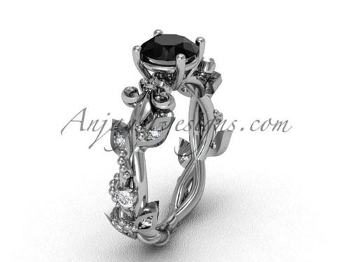 Platinum diamond leaf and vine, Fleur de Lis, enhanced Black Diamond engagement ring VD20859