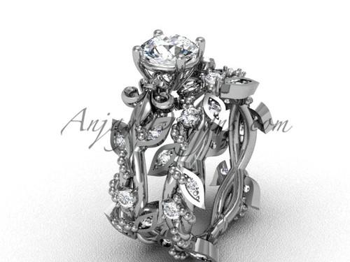 """14kt white gold diamond leaf and vine, Fleur de Lis, """"Forever One"""" Moissanite engagement set VD20859S"""