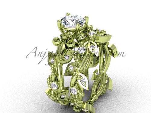 "14kt yellow gold diamond leaf and vine, Fleur de Lis, ""Forever One"" Moissanite engagement set VD20859S"