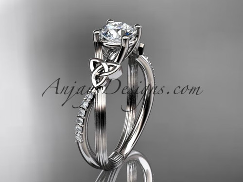 Platinum diamond celtic trinity knot wedding ring, engagement ring CT7214