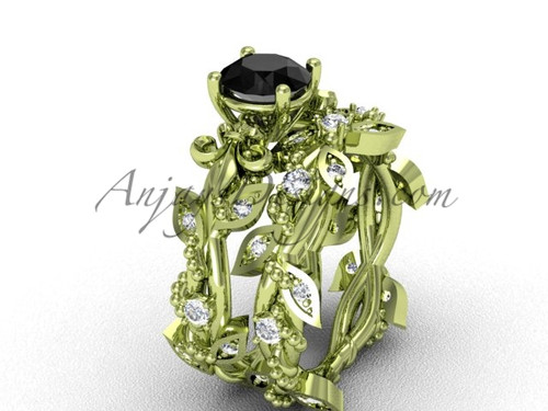 14kt yellow gold diamond leaf and vine, Fleur de Lis, enhanced Black Diamond engagement set VD20859S