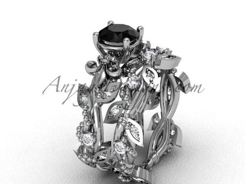 Platinum diamond leaf and vine, Fleur de Lis, enhanced Black Diamond engagement set VD20859S