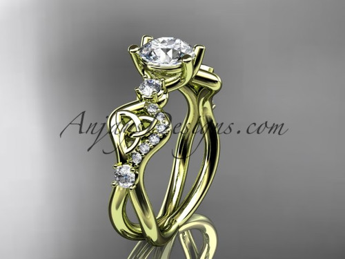 Moissanite Irish Bridal Ring Yellow Gold Celtic Ring CT768