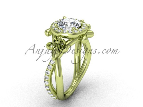 """14kt yellow gold diamond Fleur de Lis, halo, eternity, """"Forever One"""" Moissanite engagement ring VD20889"""