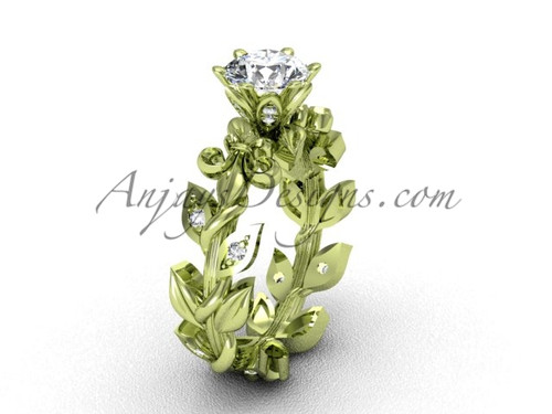 14k yellow gold diamond leaf and vine, Fleur de Lis engagement ring VD208124