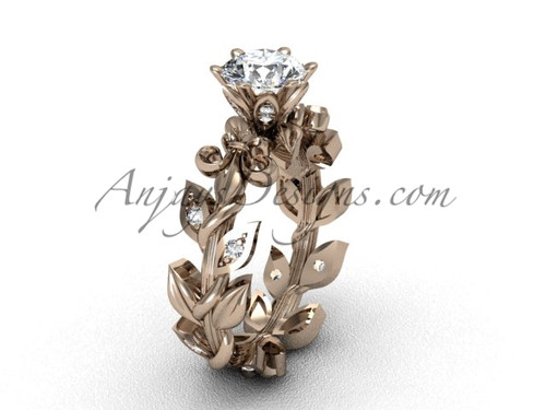 "14k rose gold diamond leaf and vine, Fleur de Lis, ""Forever One"" Moissanite engagement ring VD208124"