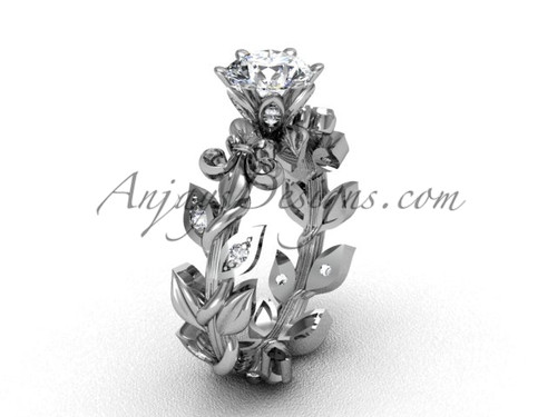 "Platinum diamond leaf and vine, Fleur de Lis, ""Forever One"" Moissanite engagement ring VD208124"