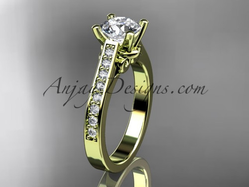 14kt yellow gold diamond unique engagement ring, wedding ring ADER134