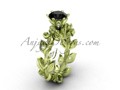 14k yellow gold diamond leaf and vine, Fleur de Lis, Black Diamond engagement ring VD208124