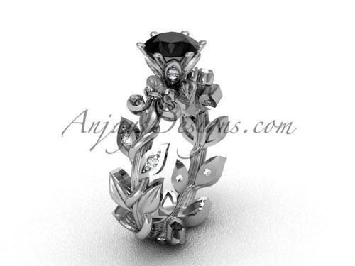 Platinum diamond leaf and vine, Fleur de Lis, Black Diamond engagement ring VD208124