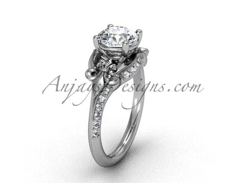 14kt white gold diamond Fleur de Lis, eternity, One Moissanite engagement ring VD208125