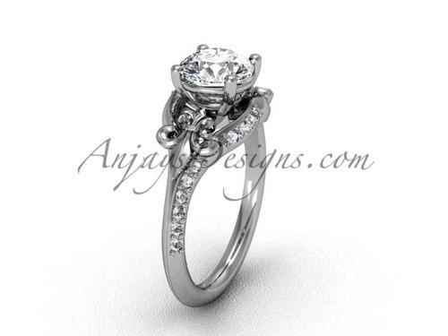 14kt white gold diamond Fleur de Lis, eternity, One Moissanite engagement ring VD208125